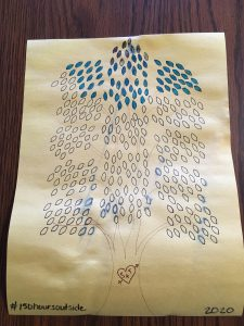 Drawing of tree with leaves colored in