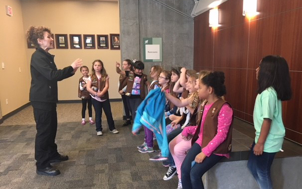 Liz's Brownie Troop at their Local Police Station