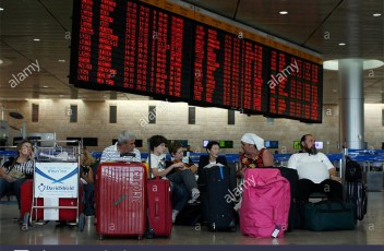 The departures terminal at the Tel Aviv airport