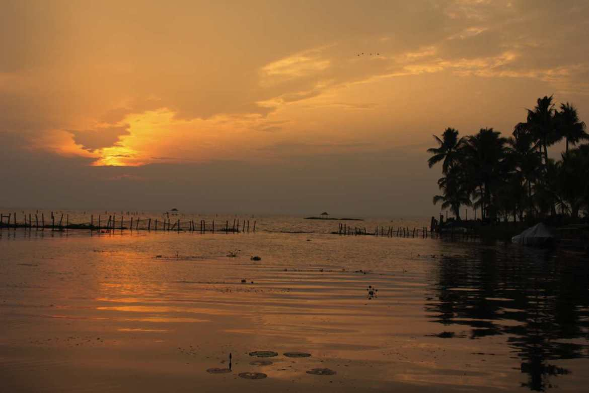 Stunning sunset in Kerala