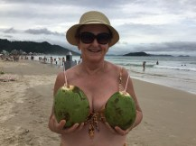 Playing with the coconuts!