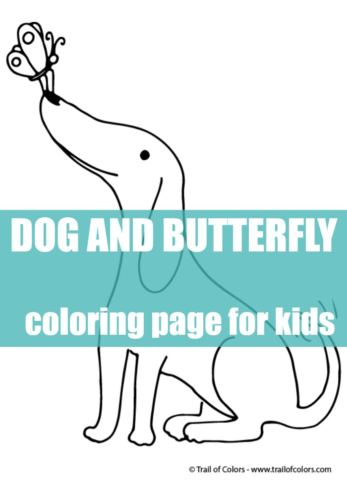 happy dog coloring page for kids trail of colors