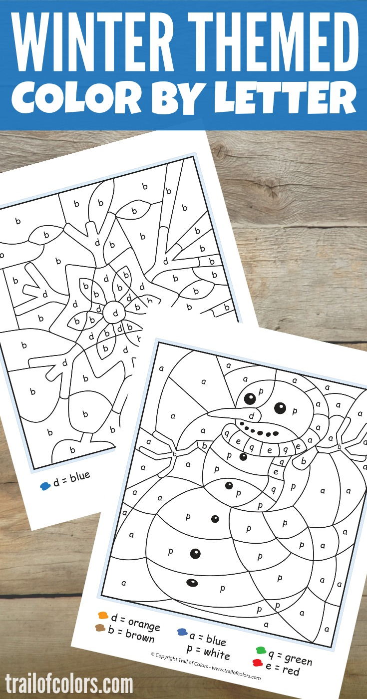 winter color by letter free printable trail of colors