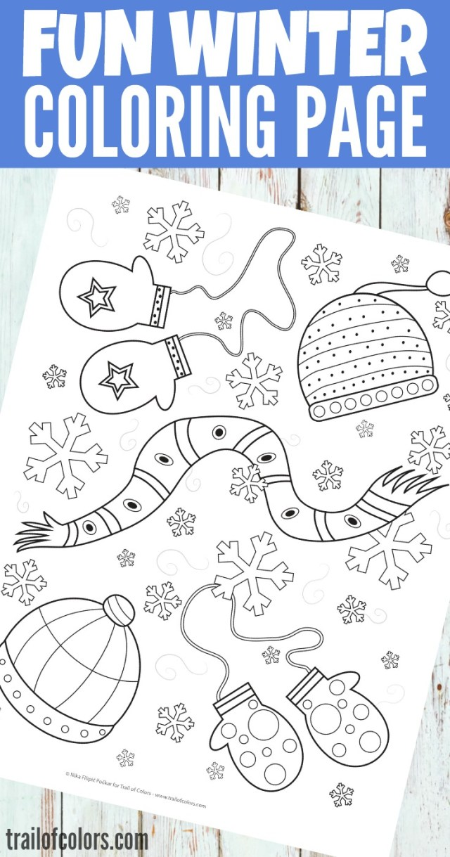 Free Printable Winter Coloring Page for Kids - Trail Of Colors