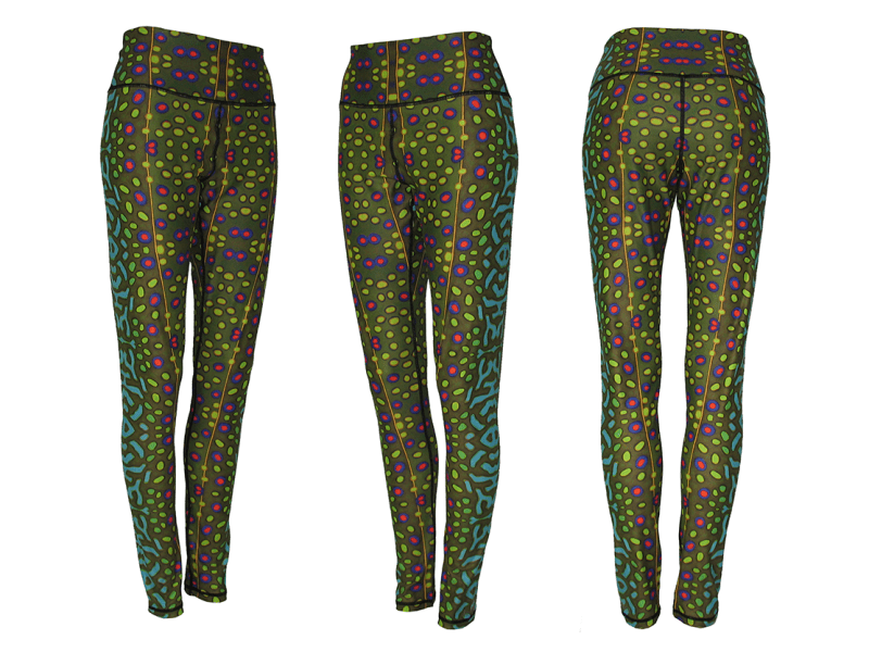 AD Maddox's Brook Trout Fly Fishing Art on Fly Fishing Apparel performance yoga-style legging. Wear as wader liners, long underwear, workout leggings, or to get trouty for a night on the town.