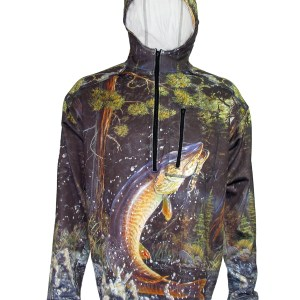 Musky 1/4-Zip FlexFleece Fish Adventure Hoodie bring the excitement to everyday on the water chasing Muskie