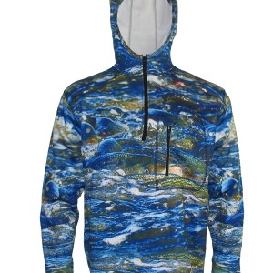 Striper Boil 1/4-Zip FlexFleece Fish Adventure Hoodie sets the stage for the fast action of striper fishing while keeping you warm and toasty as well as being protected by the sun