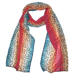 Rainbow Trout Two Silk Fish Scarf the colors of a rainbow will enhance your outfit creating a beautiful accent to your outfit