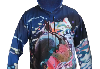 AD Maddox Fly Fishing Apparel Running Rainbow Trout Hoodie has great feel and cause excitment as the Rainbow Trout is running straight away from you, not only ment to be waren on the river, the trail as well, hiking, backpacking, camping, mountain biking, skiing or any outdoor activity