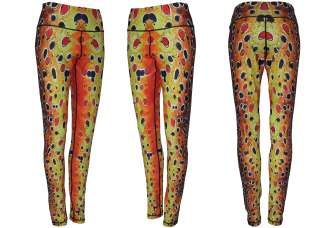 Brown Trout Leggings running clothes are fly fishing apparel or Mens Yoga pants. Womens casual wear to a dinner party, or camp life in the tent or campfire.