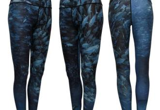 Scuba Jacks Leggings is print on a performance yoga-style legging shows a diver surrounded by a ball of Jack Crevalles.  Wear as wader liners, long underwear, workout leggings