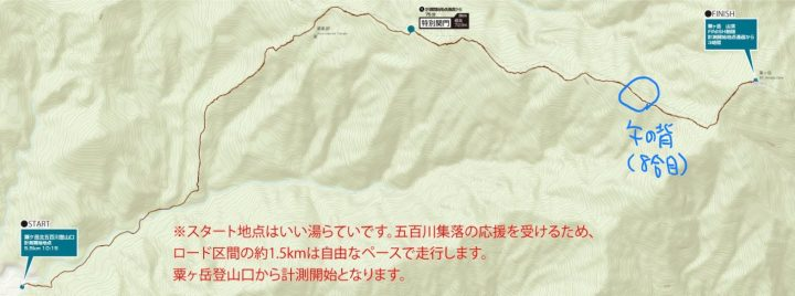 バーティカルキロメーターのフィニッシュは山頂ではなく8合目の午の背となる(大会のウェブサイトに当サイトが加筆)