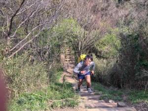 長い木の階段を登って仙元山へ。