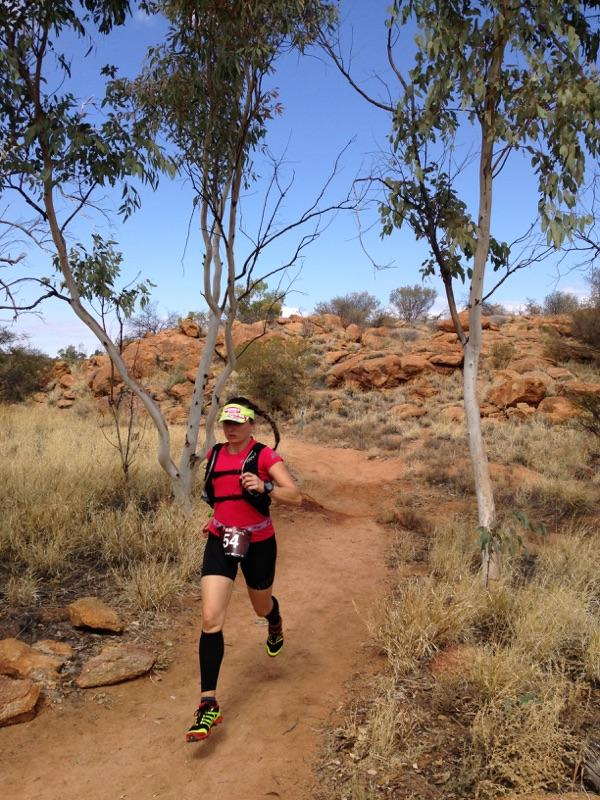 Shona Stephenson enjoying the soft technical trails of Run Larapinta