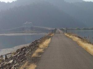 trail bridge over lake coeur d' alene in northern idaho