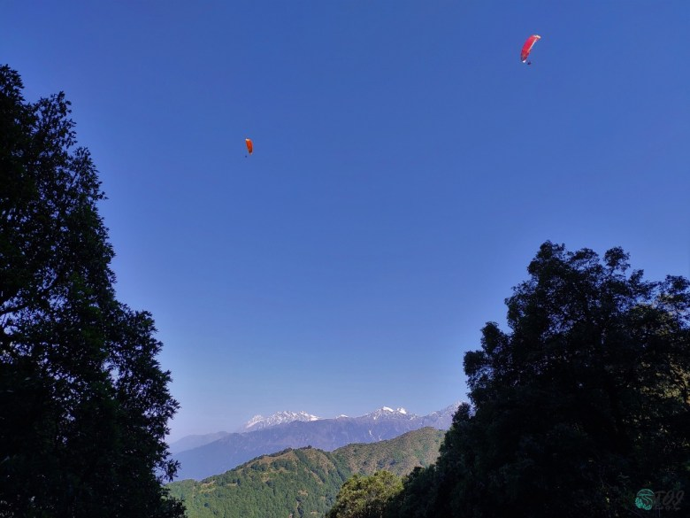 Paragliding Above Mountains In Bir Billing