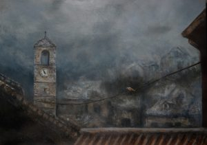 A painting of a foggy evening in the city with a golden bird resting on a telephone wire.