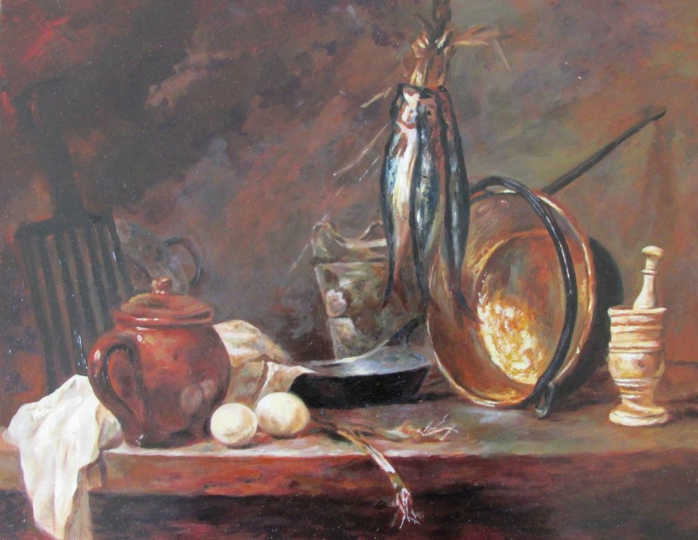 "Copy of <a href=""https://www.wikiart.org/en/jean-baptiste-simeon-chardin/still-life-fast-day-menu-1731""><i>Chardin's Fast Day Menu</i></a>"