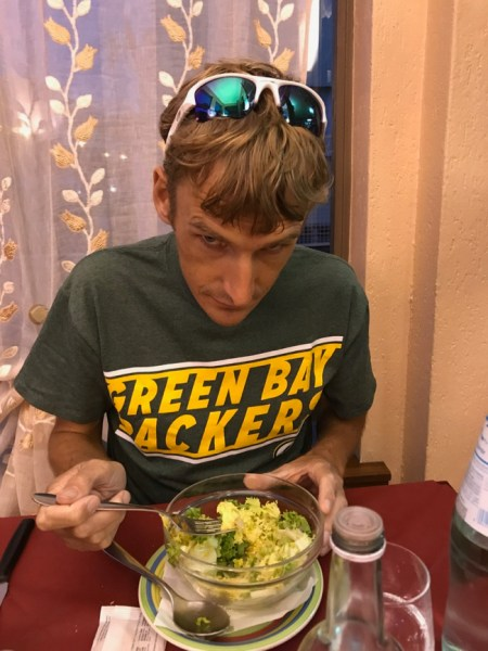 Fritz stoked on his 'green' salad.