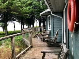 The back deck overlooked the ocean.