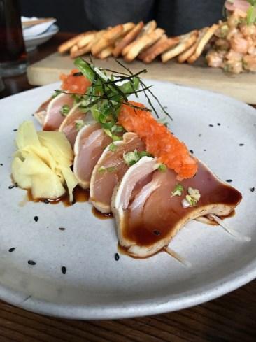 The tuna tataki (seared jig caught local albacore tuna, ponzu, ginger & green onion) was unbelievably good!