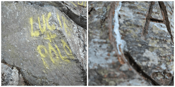 graffiti and deep carvings on the trail... really disappointing to see.