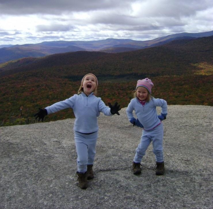 Alex (6) and Sage (4) atop NH's Mt Pemigewasset