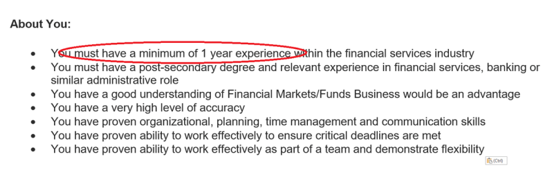 work experience requirement