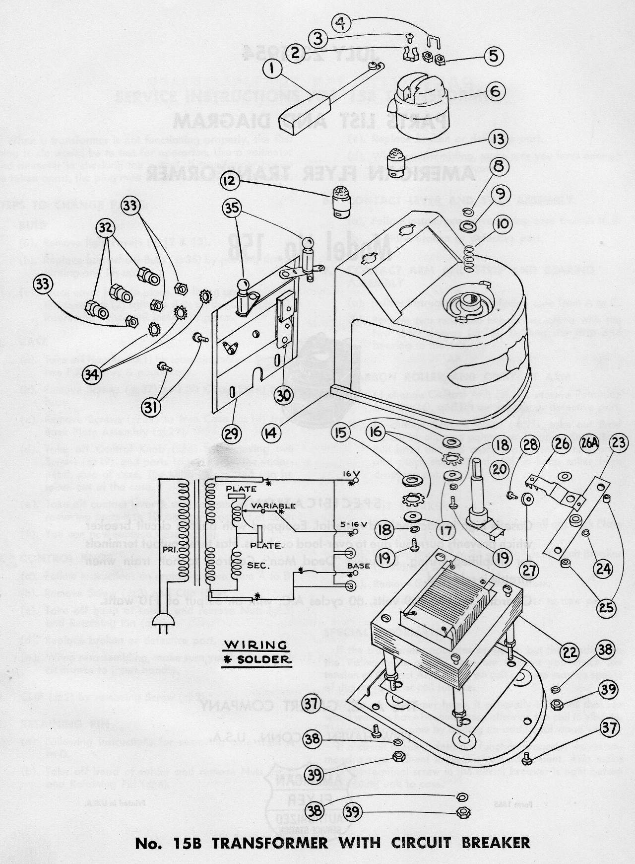 American Flyer Transformer 15b Parts List Amp Diagram
