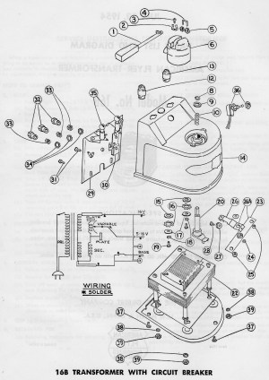 American Flyer Transformer 16B Parts List & Diagram | TrainDR