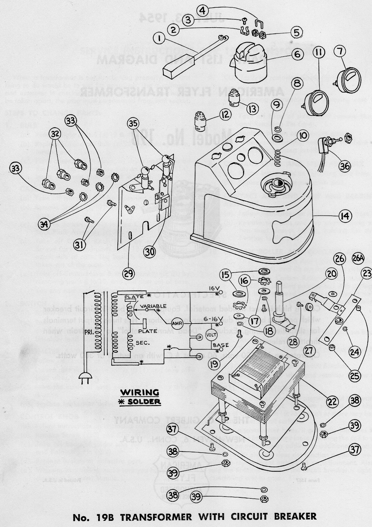 American Flyer Transformer 19b Parts List Amp Diagram