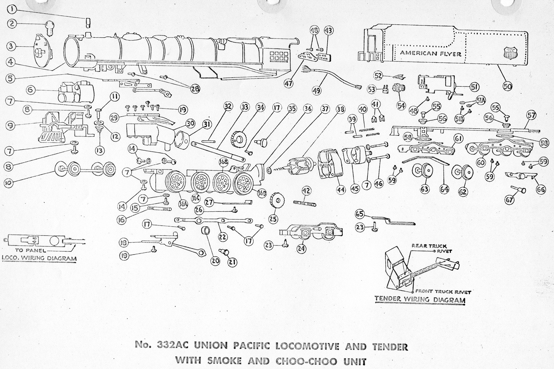 American Flyer Locomotive 332ac Parts List Amp Diagram