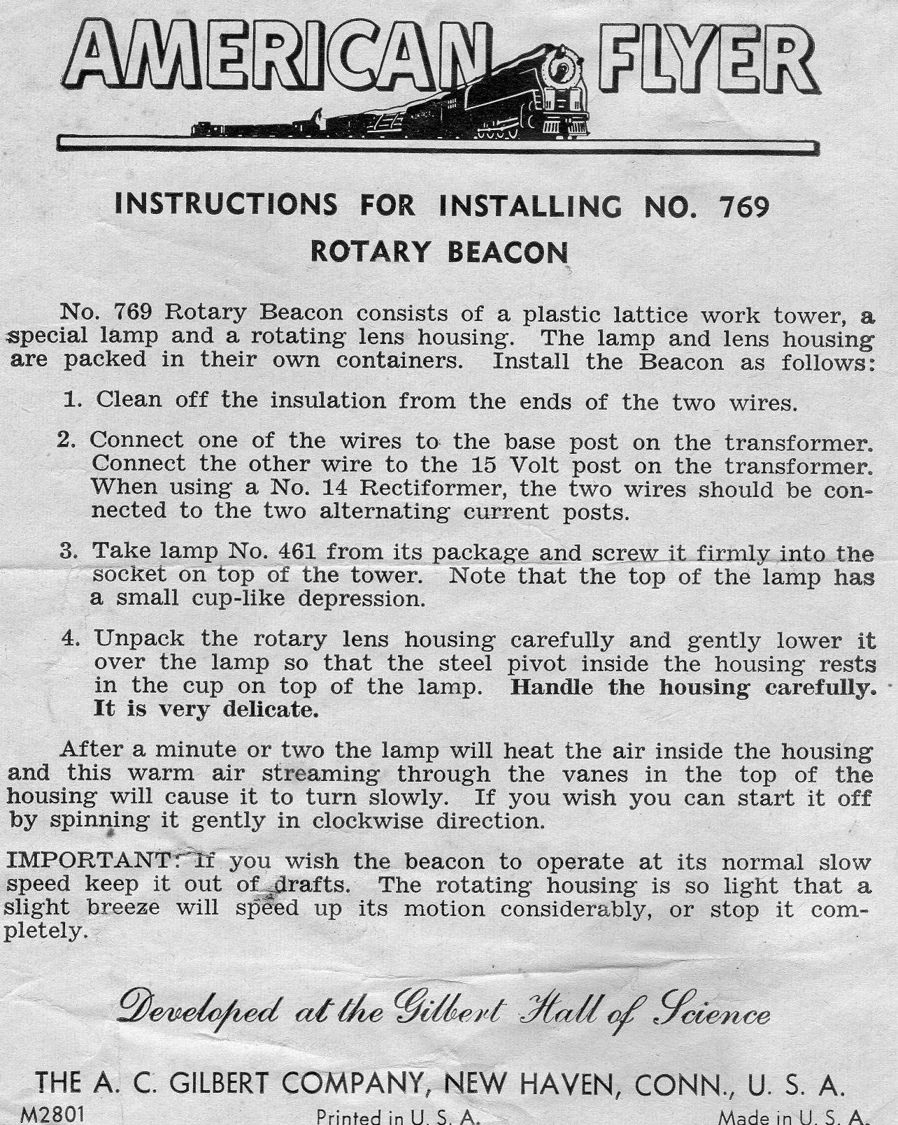 American Flyer Rotary Beacon 769 Instructions