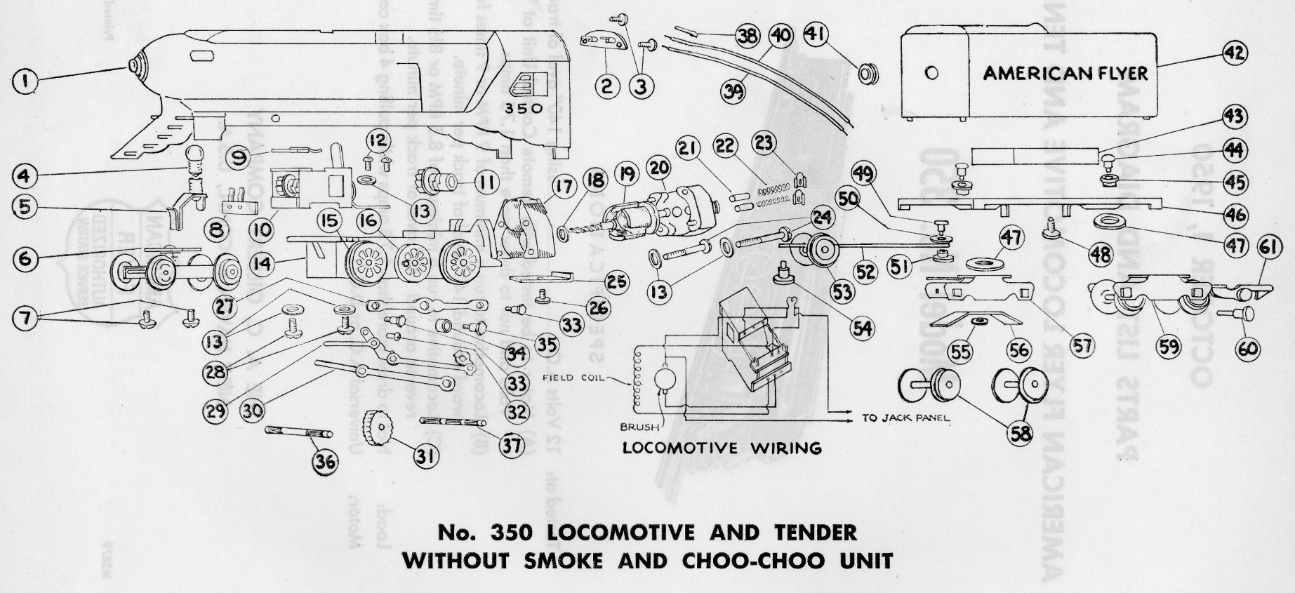American Flyer Model 350 Parts List And Diagram