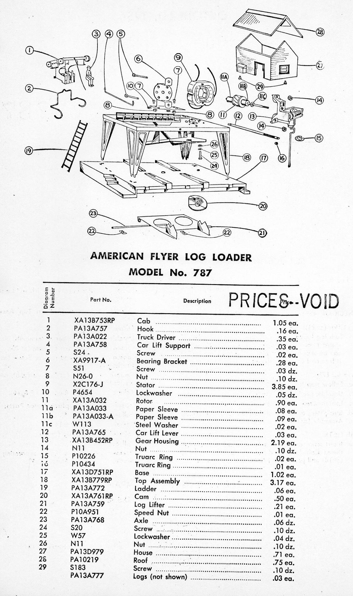 American Flyer Log Loader 787 Parts List Amp Diagram