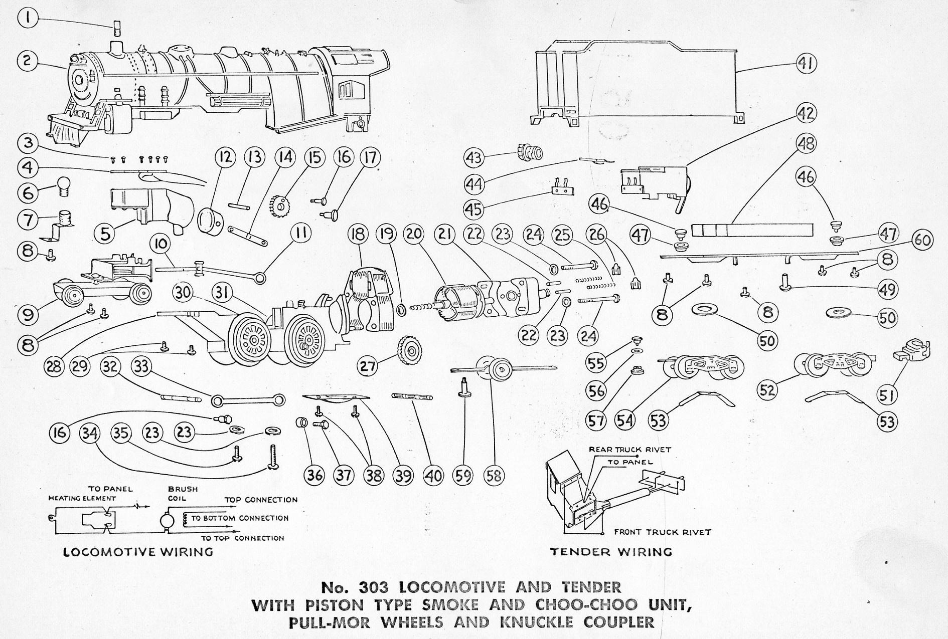 American Flyer Locomotive 303 Parts List And Diagram
