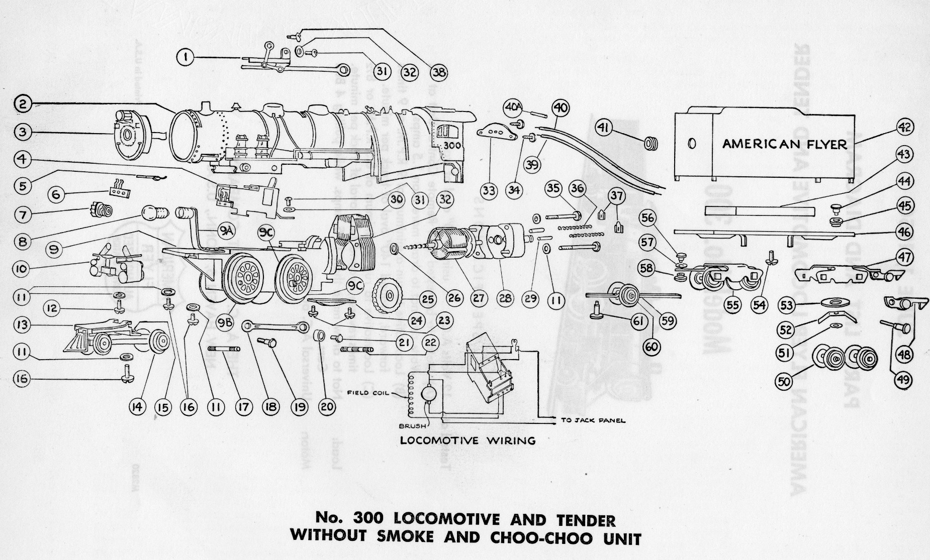 American Flyer Locomotive 300 Parts List Amp Diagram