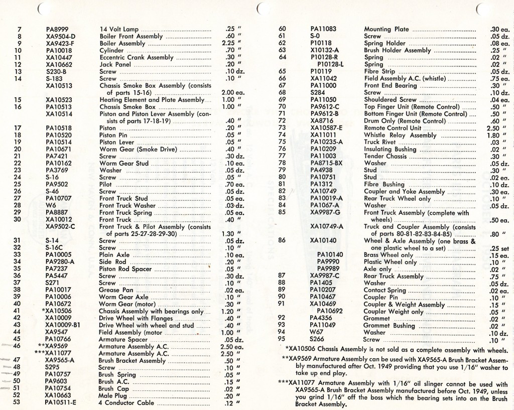 American Flyer Locomotive 314aw Parts List Amp Diagram