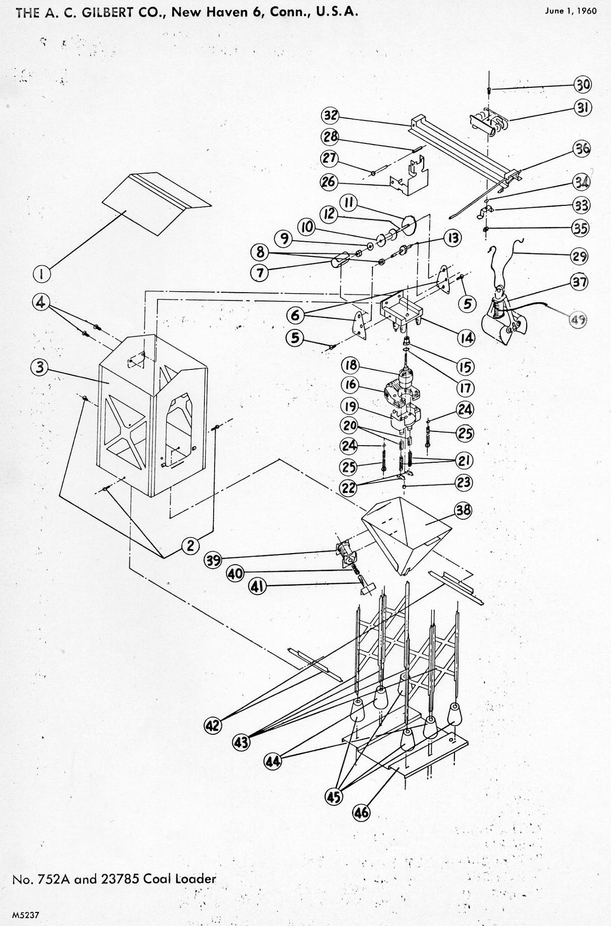 American Flyer Coal Loader 752a Amp 785 Parts List Amp Diagram