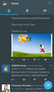 tocco su icona profilo twitter