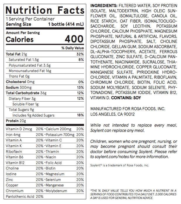 soylent nutrition facts