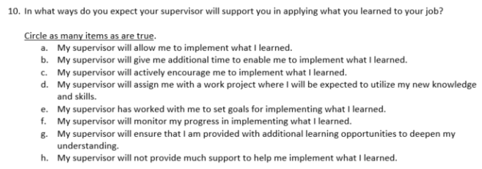 Post-Training Evaluation - Supervisor Support