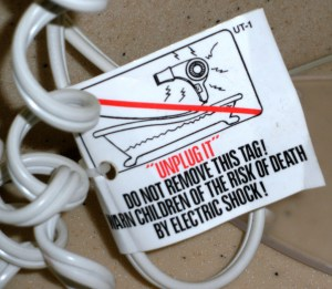 bad warning label - blow dryer