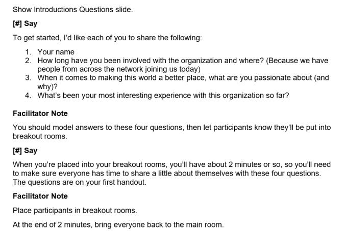 Breakout Instructions