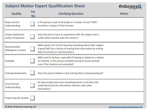 subject matter experts - qualification sheet