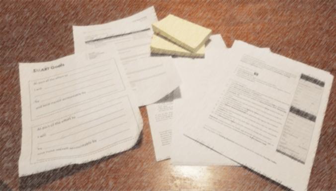 Handouts on desk