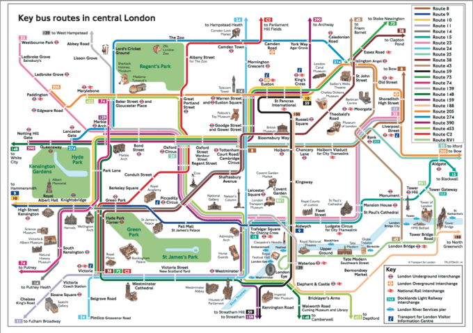 Central London bus route map. The number 10 route is in yellow.