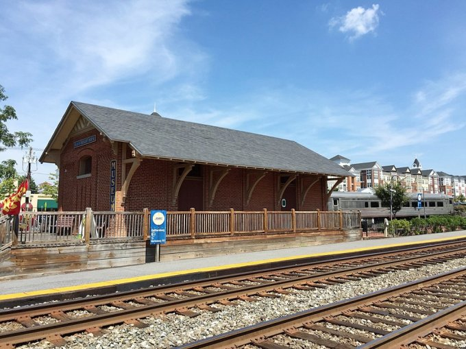 The freight depot turned museum . Notice that there is still an active platform for MARC commuter trains.