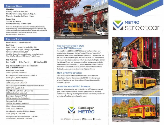 The brochure for the streetcar
