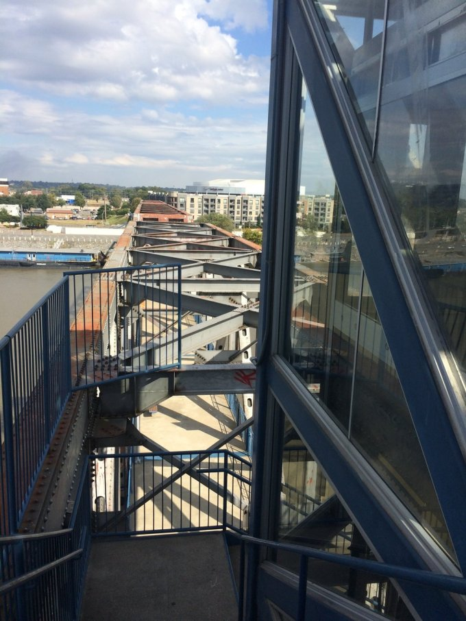 From the elevated portion of the Junction Bridge looking down.  Photo by B. WIng